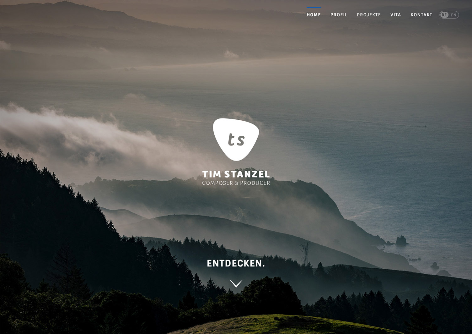 Web Design for composer Tim Stanzel, Berlin